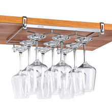 Save vobaga stemware racks 3 rows adjustable stainless steel wine glass rack stemware hanger bar home cup glass holder dinnerware kitchen dining hold 9 glasses