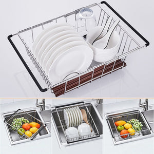 YC electronics Retractable Stainless Steel Kitchen Shelf, Vegetables Basin, Dish Rack, Fruit Vegetable Basket, Drain Basket, Kitchen Sink