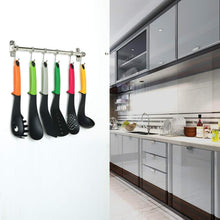 Home baoef kitchen sliding hooks solid stainless steel hanging rack rail with 12 utensil removable s hooks for towel pot pan spoon loofah bathrobe wall mounted