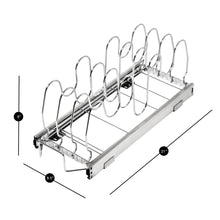 Shop for smart design expandable roll out lid bakeware organizer w adjustable dividers hardware long steel metal holds 100 lbs cabinets cookware items kitchen 21 40 x 8 5 inch chrome