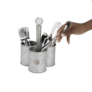 Get mind reader 3sgcadut sil 3 cup utensils caddy cutlery serve ware holder flatware silverware organizer forks spoons knives kitchen silver one size metal