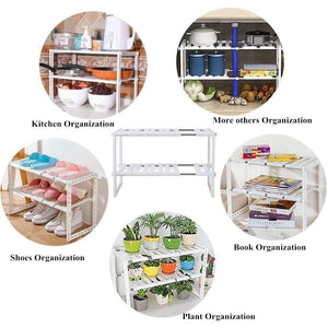 Products under sink organizer 2 tier expandable kitchen bathroom pantry storage shelf multi functional adjustable under kitchen sink organization storage rack heavy duty white