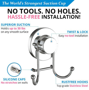 Purchase home so towel hook with suction cup holder bathroom shower kitchen storage organizer hanger for bath robe towel coat loofah stainless steel chrome 2