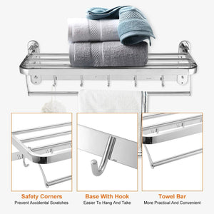 Best seller  beamnova foldable towel rack 20 inch with shelf towel rack with bar hooks wall mounted easy installation towel holder stainless steel for shower bathroom kitchen