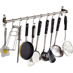 Selection lzttyee stainless steel pot pan rack wall mounted lid holder organizer multifunctional kitchen utensils 10 hooks