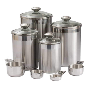 Amazon beautiful canisters sets for the kitchen counter 8 piece stainless steel medium sized with glass lids and measuring cups silveronyx tea coffee sugar flour canisters 8pc glass lids