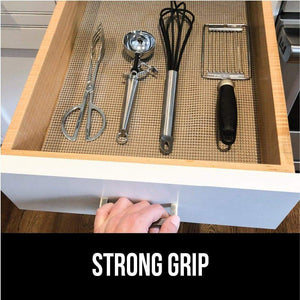 New gorilla grip original drawer and shelf liner non adhesive size 20 inch x 20 ft durable and strong grip liners for drawers shelves cabinets storage kitchen and desks quatrefoil gray white