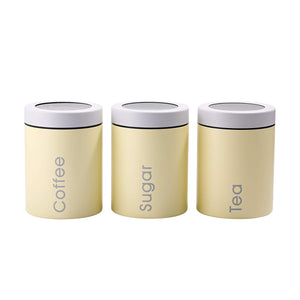 Home adzukio modern stylish canisters sets for kitchen counter 3 piece canister for tea sugar coffee food storage container multipurpose light yellow