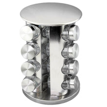 Discover the best double2c revolving countertop spice rack stainless steel seasoning storage organization spice carousel tower for kitchen set of 16 jars