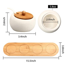 Kitchen ruckae ceramic condiment jar spice container with bamboo lid porcelain spoon wooden tray set of 4 white 170ml5 8 oz perfect spice storage for home kitchen counter