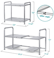 Order now bextsware metal under sink 2 tier expandable shelf organizer rack adjustable height and position 7 removable shelves expandable 18 to 25for kitchen bathroom cabinets storage chrome
