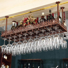 Buy warm van industrial vintage metal bar wine glass hanging rack retro upside down stemware goblet wine glass holder tableware bottle floating shelf for home kitchen bronze 47 2l