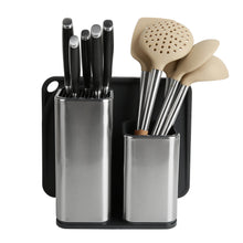 The best elfrhino utensils organizer stainless steel kitchen utensils holder container utensils cock flatware caddy cookware cutlery knives block cutting board multipurpose kitchen storage crock set of 3