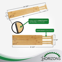 Explore horizons adjustable stackable 100 eco friendly bamboo drawers set of 6 kitchen drawer desk dresser bathroom divide organize