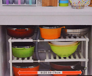 Discover lhfj adjustable extendable under sink rack shelf 2 tier kitchen bathroom storage organiser50 702638cm organizer
