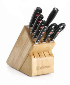 Budget friendly wusthof classic nine piece knife block set 9 piece german knife set precision forged high carbon stainless steel kitchen knife set with 13 slot wood block model 7419