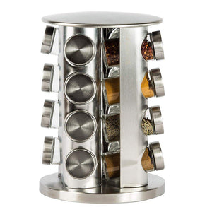 Discover the double2c revolving countertop spice rack stainless steel seasoning storage organization spice carousel tower for kitchen set of 16 jars