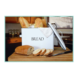 On amazon outshine vintage metal bread bin countertop space saving extra large high capacity bread storage box for your kitchen holds 2 loaves 13 x 10 x 7 white with bread lettering