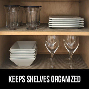 Latest gorilla grip original drawer and shelf liner non adhesive size 20 inch x 20 ft durable and strong grip liners for drawers shelves cabinets storage kitchen and desks quatrefoil gray white