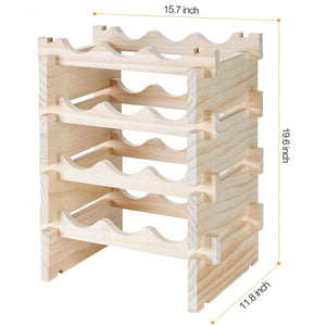 New defway wood wine rack countertop stackable storage wine holder 12 bottle display free standing natural wooden shelf for bar kitchen 4 tier natural wood
