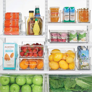 New mdesign plastic kitchen pantry cabinet refrigerator or freezer food storage bin with handles organizer for fruit yogurt snacks pasta bpa free 10 long 8 pack clear