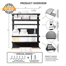 Online shopping magnetic fridge spice rack organizer large with 6 utility hooks 4 tier mounted storage paper towel roll holder multi use kitchen rack shelves pantry wall laundry room garage matte black