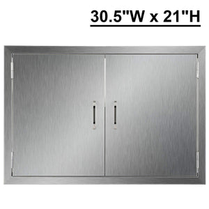 Discover co z outdoor kitchen doors 304 brushed stainless steel double bbq access doors for outdoor kitchen commercial bbq island grilling station outside cabinet barbeque grill built in 30 5w x 21h