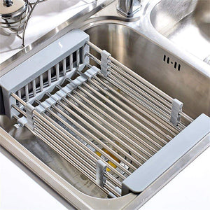 Great lxjymxkitchen storage rack multi function rack stainless steel sink single row frame telescopic drain basket dish drain rack grey