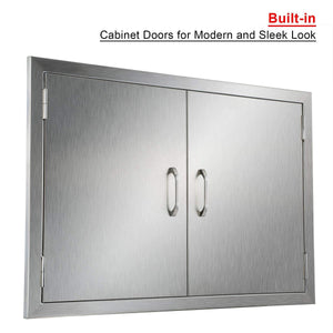 Featured co z outdoor kitchen doors 304 brushed stainless steel double bbq access doors for outdoor kitchen commercial bbq island grilling station outside cabinet barbeque grill built in 30 5w x 21h