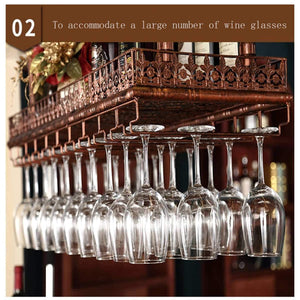Best seller  warm van industrial vintage metal bar wine glass hanging rack retro upside down stemware goblet wine glass holder tableware bottle floating shelf for home kitchen bronze 47 2l