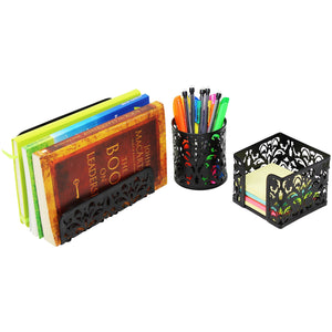 New 3 piece mesh office organizer desk accessories set can be used on desktop table counter in kitchen at work black