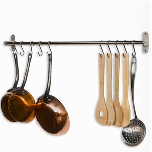 Discover the wallniture lyon gourmet kitchen wall mount rail and 10 hooks stainless steel pot pan lid holder rack 31 5 inch