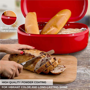 On amazon bread box red carbon steel large capacity sturdy metal food storage containers and bread boxes for kitchen counters retro countertop breadbox for loaves 15 7 x 10 8 x 7 inches