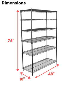Storage organizer internets best 6 tier wire shelving rack nsf wide flat black home storage heavy duty shelf wide adjustable freestanding rack unit kitchen business organization commercial industrial
