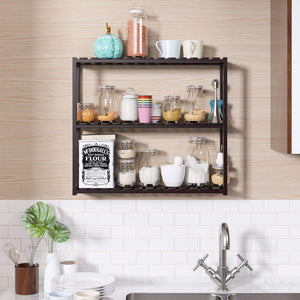 The best homfa bamboo shelf 3 tier utility storage organizer adjustable layer rack bathroom towel shelves multifunctional kitchen living room holder wall mounted retro color