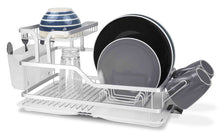 Budget home basics dd44560 2 tier aluminum dish drying storage rack with utensil holder cup holder draining tray for kitchen countertop sink