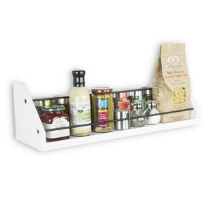 Storage organizer kitchen white wall shelf with black metal section railing great for spice dressing jar display organizer storage rack each shelf is 24 inch
