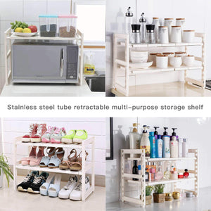 Shop expandable under sink rack 2 tier adjustable multifunctional countertop storage microwave rack shelving unit multipurpose tidy organizer storage shelf for kitchen bathroom and garden