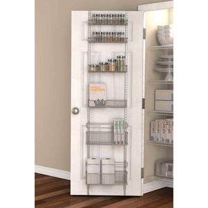 Exclusive premium over the door steel frame kitchen pantry and bath room organizer in satin nickel adjustable shelf system made of solid steel hung or door mounted option