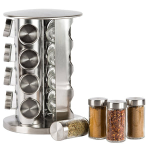 Exclusive double2c revolving countertop spice rack stainless steel seasoning storage organization spice carousel tower for kitchen set of 16 jars