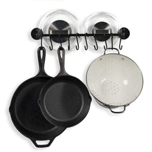 Discover wallniture gourmet kitchen rail rack pot pan lid organizer and 10 hooks 16 inch black