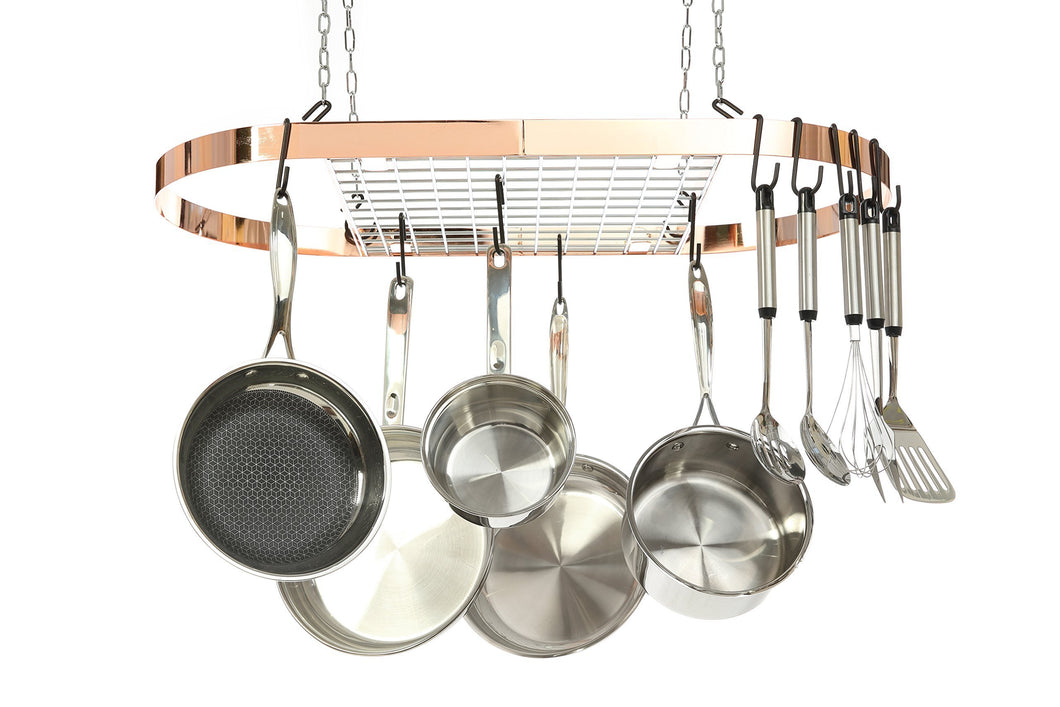 Discover kinetic pot and pan rack with ceiling hooks premium oval mounted oragnizer rack with multi purpose kitchen organization and storage for home restaurant cookware utensils hanging metallic copper