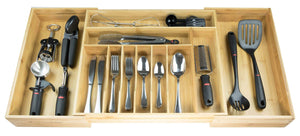 Heavy duty kitchenedge premium silverware flatware and utensil organizer for kitchen drawers expandable to 33 inches wide 11 compartments 100 bamboo