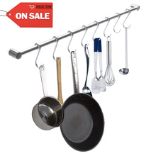 Discover kitchen utensil hanger rail wit 8 hooks sagmoc 24 inch utensil hanger rack wall mounted for pot pan kitchen tools ideal kitchen hanging organization 304 stainless steel brushed nickel