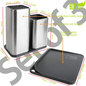 Buy elfrhino utensils holder stainless steel kitchen tools knives holder knives block utensils container utensils crock flatware caddy cookware cutlery utensils holder multipurpose kitchen storage crock