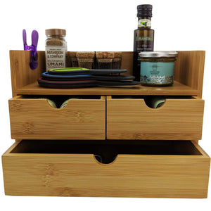 Latest sherwood co 3 tier bamboo desk organizer with drawers perfect for desk office supplies vanity kitchen and home or office tabletop with bonus pen pencil holder