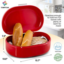 Organize with bread box red carbon steel large capacity sturdy metal food storage containers and bread boxes for kitchen counters retro countertop breadbox for loaves 15 7 x 10 8 x 7 inches