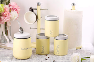 Heavy duty adzukio modern stylish canisters sets for kitchen counter 3 piece canister for tea sugar coffee food storage container multipurpose light yellow