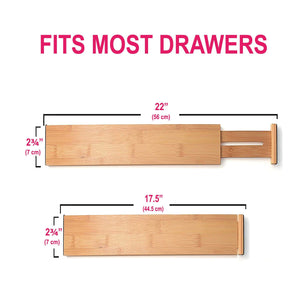 Products rapturous bamboo drawer dividers pack of 5 expandable drawer organizers with anti scratch foam edges adjustable drawer organization separators for kitchen bedroom baby drawer bathroom desk