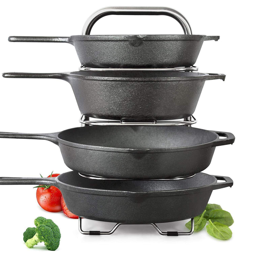 Buy heavy duty cast iron pan and pot organizer rack 5 height adjustable shelves kitchen skillets cookware holder stainless steel 15 tall